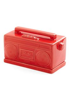 Pass the Jams Butter Dish. Youre hosting brunch for friends and this light, red boom-box butter dish - from Gama-Go - becomes the center of attention. #red #modcloth