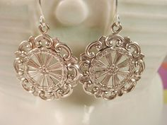 Silver Tone Round Filigree Disk Earrings by TheGoldenRobin on Etsy