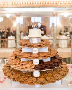 20 Super Sweet Wedding Dessert Display and Table Ideas - Oh Best Day Ever - Katrin B. - 20 Super Sweet Wedding Dessert Display and Table Ideas - Oh Best Day Ever cookie tower wedding dessert display ideas - Cookie Bar Wedding, Wedding Cookies, Wedding Dessert Tables, Donut Wedding Cake, Wedding Food Bars, Dessert Ideas For Wedding, Unique Wedding Food, Cheesecake Wedding Cake, Nontraditional Wedding