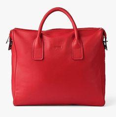 Laptop- und Business-Tasche von BREE aus rotem Leder