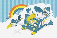 #イラスト #ややしろくまくん #年賀状デザイン #ペリカン #虹 #かわいい #年賀状  #illustagram #illust #illustrator #happynewyear #2017年 #kawaii #rainbow #pelican #cloud #vehicle #character