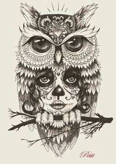 LOVE THE OWL Not the face below it.