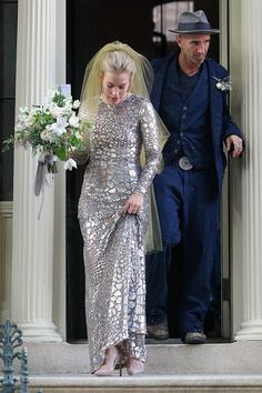 "Piper Perabo of ""Coyote Ugly"" and ""Covert Affairs"" fame chose a silver wedding gown. www.virginiajustermarriagecelebrantgympie.com"