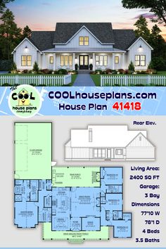 This beautifully balanced country farmhouse plan is ne to our house plan collection, but it is getting a lot of attention on social media. With 2400 sq ft of living space and 734 sq ft of covered porch, the home is appealing to many. Offering an open layout with generously sized rooms and plenty of outdoor entertaining space, this will likely be a bestselling farmhouse plan before too long. Farmhouse Home Plans at COOL House Plans #COOLhouseplans #farmhouse #countryhome #homeideas… Farmhouse Floor Plans, Farmhouse Homes, Country Farmhouse, Best House Plans, Dream House Plans, Beautiful House Plans, Local Builders, Craftsman Style House Plans, Good House