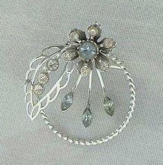 Aqua Rhinestones Circle Spray Brooch Pin Navettes Vintage Jewelry