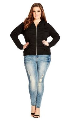 City Chic GIRLY ROUCHED HOODIE - City Chic Your Leading Plus Size Fashion Destination #citychic #citychiconline #newarrivals #plussize #plusfashion