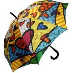 Romero Britto Large Umbrella Hearts