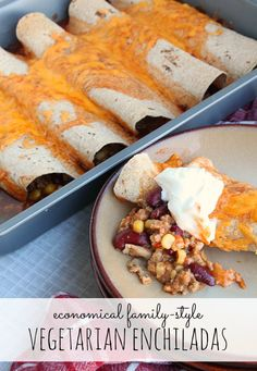 Economical Family-Style Vegetarian Enchiladas // Happy Food Healthy Life - A recipe created for Food Bloggers Against Hunger #takeyourplace  not a vegetarian, but yum!