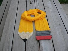 pencil scarf - free knitting pattern. I have found direct links for two versions of this pattern - the version pictured here and the original in the web archive. | Novelty Scarf Knitting Patterns at http://intheloopknitting.com/novelty-scarf-knitting-patterns/