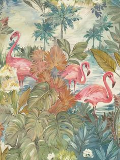 Sarasota is a beautiful painterly style tropical scene wallpaper. This design features flamingos within tropical foliage, trees and water. This wallpaper could be used to create a striking feature wall or to decorate an entire room. This high quality wallpaper benefits from being a paste the wall paper, which means it is incredibly easy to apply and work with whilst decorating. It will also stand the test of time and is easy to remove at a later date. Pink Flamingo Wallpaper, Tropical Wallpaper, Pink Flamingos, Monkey Wallpaper, Wall Wallpaper, Wallpaper Samples, Wallpaper Online, Tropical Colors, High Quality Wallpapers