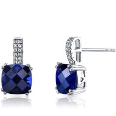 Peora.com - 14K White Gold Created Sapphire Earrings Cushion Checkerboard Cut 6.00 Carats, $209.99 (http://www.peora.com/14k-white-gold-created-sapphire-earrings-cushion-checkerboard-cut-6-00-carats)