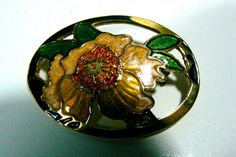 Oval Cloisonne Enamel Pin Brooch Exotic Flower Pin Brooch #unknown Exotic Flowers, Brooch Pin, Enamel, Band, Color, Jewelry, Brooch, Vitreous Enamel, Sash