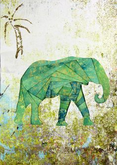 Iris Folded Elephant Card
