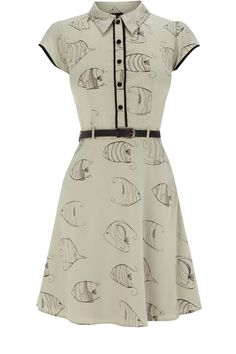 Oasis Shop | Pale Green Fish Print Shirt Dress | Womens Fashion Clothing | Oasis Stores UK