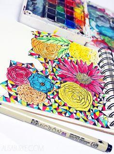 alisa burke's sketchbook - loving her triangles with florals
