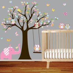 ON SALE Tree Decal Nursery Wall Stickers Colorful Tree Owl Wall Decal Elephant. $99.00, via Etsy.