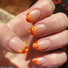 Best Acrylic Nails, Acrylic Nail Designs, Funky Nail Designs, Orange Nail Designs, Nail Tip Designs, Art Designs, Design Art, Nagellack Design, Acylic Nails