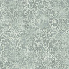 Silver and Teal Brilliant Scroll Wallpaper