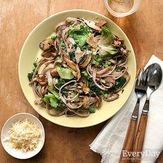 Whole-Wheat Pasta with Mushrooms, Greens & Spring Peas
