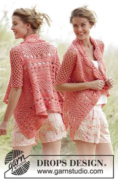 "Peach Dream - Crochet DROPS jacket worked in a square with lace pattern in ""Paris"". Size: S - XXXL. - Free pattern by DROPS Design"