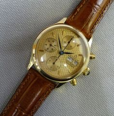 Dugena Automatic Chronograph 585 Gold massiv Valjoux 7750