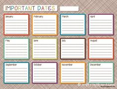 Use one of these one-page calendars to keep up with all of your important dates. Two designs to choose from.