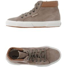 Superga Sneakers ($198) ❤ liked on Polyvore featuring shoes, sneakers, dove grey, round toe sneakers, grey leather sneakers, leather trainers, superga shoes and flat sneakers