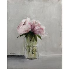 Mary Gregory Original Painting - Pink Peonies in Glass Vase Shabby Chic Salon, Shabby Chic Apartment, Modern Shabby Chic, Shabby Chic Vanity, Shabby Chic Wallpaper, Shabby Chic Garden, Shabby Chic Farmhouse, Shabby Chic Kitchen, Shabby Chic Nightstand