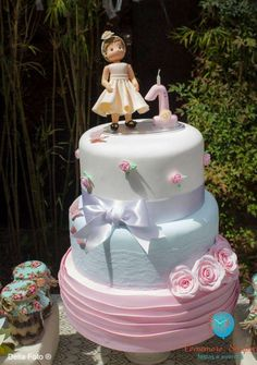 Lovely cake at a shabby chic birthday party! See more party planning ideas at CatchMyParty.com!