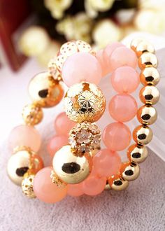 Classic MultiLayer Pink Beads Bracelets for girls