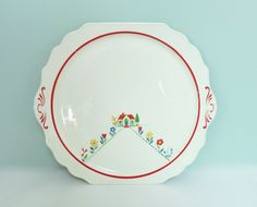 1940s Round Cake Plate with Tiny Cottage, Colorful Flowers, Two Handles and Red Accents -  a Real Charmer! by Tparty on Etsy