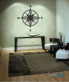 Vinyl Wall Decal Sticker Magnetic Compass Instrument #263 | Stickerbrand wall art decals, wall graphics and wall murals.