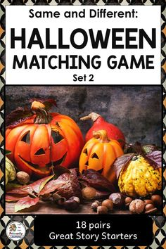 Are you looking for Same and Different Math Center Activities for Halloween? Check out this Halloween for Preschool or Kindergarten Matching Game (Set 2)! There are 18 pairs of colorful Halloween characters. Which ones are the same or different? Play concentration. Use the Halloween Illustrations as story starters... telling a Halloween story, or writing it!  {ESL, Grade One}  #Halloween  #sameanddifferent Halloween Stories For Kids, Halloween Activities, Hands On Activities, Kindergarten Activities, Preschool, Listening Activities, Halloween Illustration, Activity Centers, Math Centers