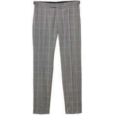 Slim-Fit Check Wool Suit Trousers (€90) ❤ liked on Polyvore featuring pants, slim pants, checkered pants, wool trousers, slim suit pants and slacks pants
