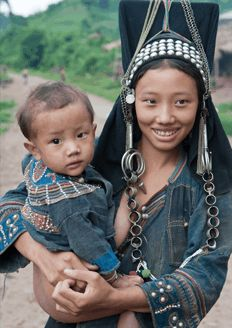 Akha mother and child . Laos