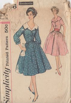 Vintage Simplicity Shirt Dress Sewing Pattern