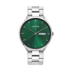 Ανδρικό ρολόι LE DOM LD.1435-1 Maxim με πράσινο καντράν, ημέρα, ημερομηνία, ορειχάλκινη κάσα με μπρασελέ | Ανδρικά ρολόγια Le Dom ΤΣΑΛΔΑΡΗΣ στο Χαλάνδρι LeDom #Maxim #ρολοι #tsaldaris Smart Watch, Watches, Smartwatch, Clocks, Clock