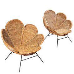 Pair of Wicker Flower Form Garden or Patio Chairs