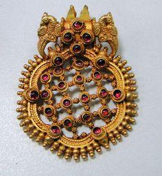 vintage 22 k solid goldl peacock pendant  368/18 by TRIBALEXPORT, $2499.00
