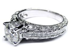 Engagement Ring - Vintage Three Side Pave Engagement Ring in 14 Karat White Gold - ES927BRWG