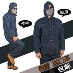 Осень и зима мужчины плюс толстый хлопок джинсовые цельный комбинезон мужская машина авто ремонт спецодежды безопасности сварка защитная одежда-Таобао