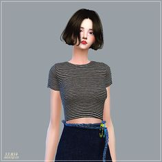 Sims 4 CC's - The Best: New Crop Short Sleeves Top by Marigold