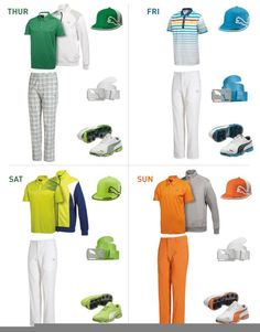 Puma Golf showed us what fashion plate Rickie Fowler will be wearing during the four tournament days.