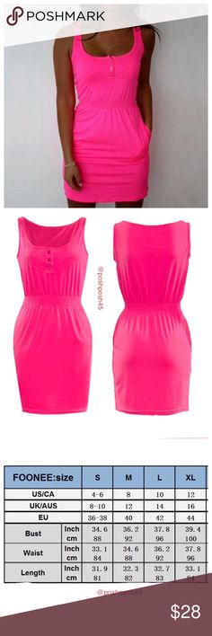 Sleeveless Dress Short Mini Dress Women Summer Casual Sleeveless Dress Short Mini Dress.   ✨100% Brand New,high quality!✨ ✨Material: Cotton blend✨ ✨Color: Hot Pink✨ ✨Style: Fashion, Casual, Summer day, Beach day✨ Lee's boutique Swim Coverups