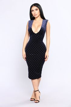 That Spark Velvet Dress - Navy