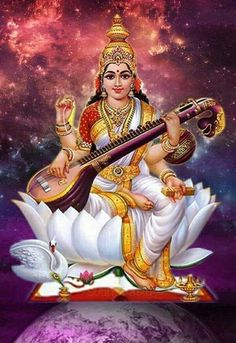 Hindu artists use on the deities and their dresses signifying their qualities. The goddess of knowledge, Saraswati is always shown as wearing a white dress, sitting on a lotus. Lord Saraswati, Saraswati Mata, Saraswati Statue, Saraswati Goddess, Goddess Lakshmi, Lord Vishnu, Hanuman Images, Durga Images, Ganesh Images