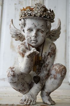 Ornate cherub statue elegant rhinestone crown shabby cottage chic distressed painted angel handmade embellishments decor anita spero design