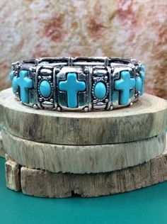Silver/Turquoise Multi Cross Stretch Bracelet - BRC916SI-Tee for the Soul