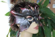 Leather leaf mask black and red by TBTOBEDESIGNED1 on Etsy