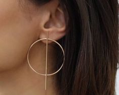 Small Geometric Hoop Earrings - Gold Or Silver